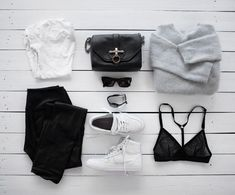 outfit, black, white, grey, sneakers, sunglasses