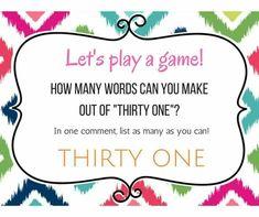 Let\'s Play A Game!  www.mythirtyone.com/charlenelee
