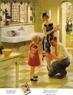 Standard Plumbing fixtures ad - an example of an American Bungalow kitchen Vintage Advertisements, Vintage Ads, Vintage Decor, Vintage Posters, 1920s Kitchen, Vintage Kitchen, Kitchen Sink, Kitchen Decor, Vintage Pictures