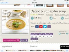 http://www.bbcgoodfood.com/recipes/7003/carrot-and-coriander-soup