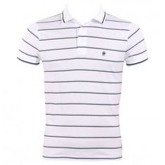 FCUK French Connection 56CF9 Black Magic Mens Polo Shirt SS13 Optic White from www.hypedirect.com #fashion #mensfashion #mensstyle #fcuk #frenchconnection #stripes