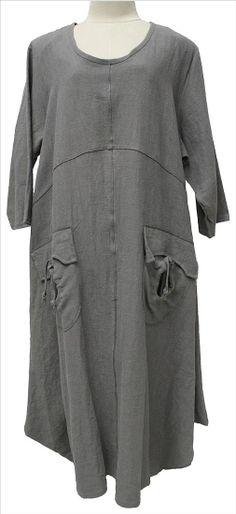 AKH Fashion Lagenlook langes Leinenkleid für große Größen bei www.modeolymp.lafeo.de