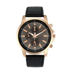 Geneva Rose Gold Watch – This smart and sophisticated watch combines the ageless elegance of classic timekeeping with outstanding design. This chronograph watch features a rose gold plated case with a beautiful black leather strap and is water resistant to 30 meters.
