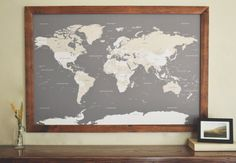 World Push Pin Travel Map in Handcrafted Wood Frame by DegnodiNota