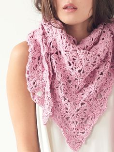 Stardust is a beautiful triangle shawl made from crocheted motifs that are joined as you go.