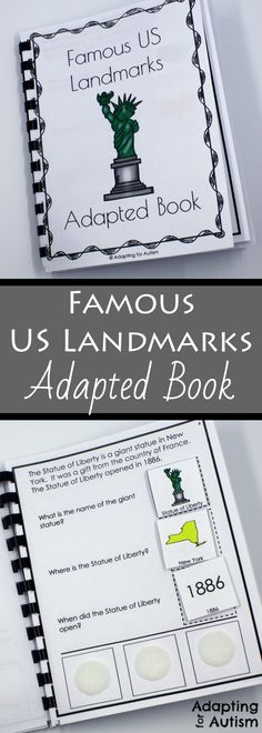 This social studies adapted book helps special education students learn about famous United States landmarks.  Answer cards include visuals to support students with autism.