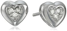 10k White Gold DiamondAccent Heart Earrings -- To view further for this item, visit the image link.