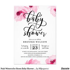 Pink Watercolor Roses Baby Shower Invitation The stylish baby shower invitation features pink watercolor flowers and a modern calligraphy font.