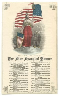 1814 The Star Spangled Banner Frances Scott Key Vintage Song Sheet Music Poster American Songs, American Flag, American History, American Pride, American Presidents, I Love America, God Bless America, Just In Case, Just For You