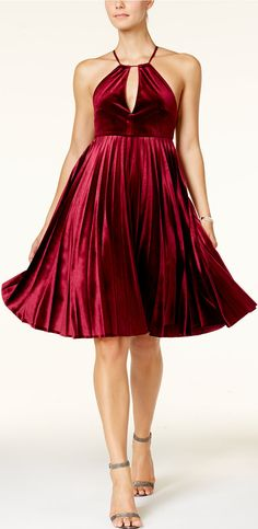 Velvet Halter Fit & Flare Dress