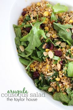 Arugula Couscous Salad loaded with flavor and beautiful colors!