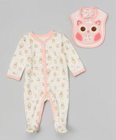 Look at this #zulilyfind! Ivy & Pink Owl Footie & Bib - Infant by Vitamins Baby #zulilyfinds