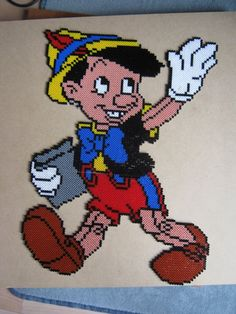 Pinocchio Disney hama beads by Bambi, Perler Bead Disney, Perler Bead Art, Pearler Bead Patterns, Perler Patterns, Movie Crafts, Motifs Perler, Peler Beads, Mickey Mouse
