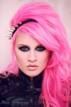 Pink - punk spike hair hot pink hair, pink hair и hair Kelly Eden, Hot Pink Hair, Bright Pink Hair, Colourful Hair, Wild Hair, Makeup Photography, Stunning Photography, Fashion Photography, Rainbow Hair