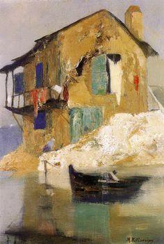 Michalis Economou/ rt House by the Sea Greek impressionist painter Impressionist Paintings, Seascape Paintings, Landscape Paintings, Wall Paintings, Artist Painting, Artist Art, Greece Painting, Street Art, Gravure