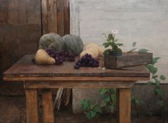 "Michael Klein, ""Outdoor Still life"" oil on linen, 26x35 inches"