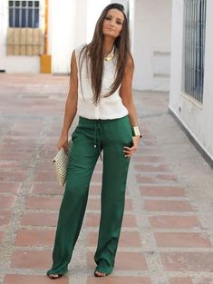 Boho Fashion Erica From Boho to Chiic: Sophisticated Green Boho Outfits, Spring Outfits, Casual Outfits, Cute Outfits, Fashion Outfits, Casual Street Style, Casual Chic, Traje Casual, Look Office