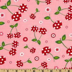 Cherries with Faces | Tissu COUPON 27X110CM -25% - Picnic party cherries petal : vente Tissu ...