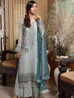 Stuff Embroidered Crinkle Chiffon Front 1 M Crinkle Chiffon Back 1 M Embroidered Patch For Front & Back 2 M Embroidered Crinkle Chiffon Sleeves M Sleevs Embroidered Patch 1 M Embroidered Crinkle Chiffon Dupatta M Embroidered Silk Trouser M Pakistani Bridal Wear, Indian Bridal, Clothes For Sale, Clothes For Women, Pakistani Designer Suits, Pakistani Salwar Kameez, Chiffon Material, 3 Piece Suits, Wedding Suits