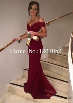 Burgundy Mermaid Off The Shoulder Short Sleeve Chiffon Floor Length Prom Dress With Lace-in Prom Dresses from Weddings & Events on Aliexpress.com | Alibaba Group