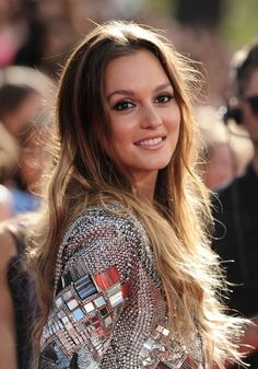 Leighton Meester ombre hair and smokey eyes