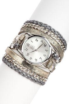 Sara Designs  Leather & Chain Watch