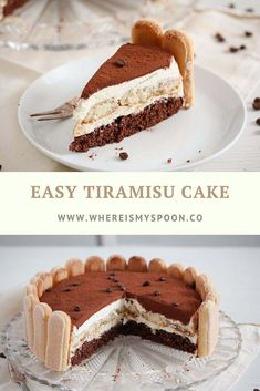 The best and easiest tiramisu cake with mascarpone and ladyfingers. This tiramisu torte is perfect for a birthday or any other kind of celebration, ev. Chocolate Bread Pudding, Pudding Cake, Chocolate Chocolate, Healthy Chocolate, Snickers Ice Cream Cake, Just Desserts, Delicious Desserts, Ma Baker, Cocoa Cake