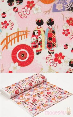 "off-white, pink cotton sheeting fabric with geishas, fans, sakura flower etc., with metallic gold embellishment, Material: 100% cotton, Pattern Repeat: ca. 30cm (11.8"") #Cotton #People #Metallic #JapaneseFabrics"