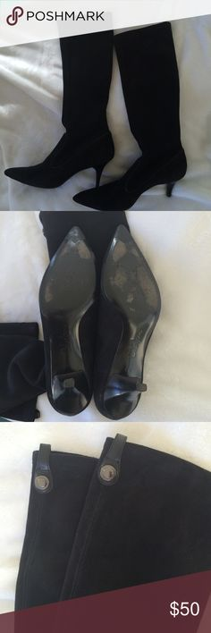 "tall point black Cole Haan boots Nice tall black faux suede  2"" heel boots have been worn couple of time but still have lots of life in them Cole Haan Shoes Heels"