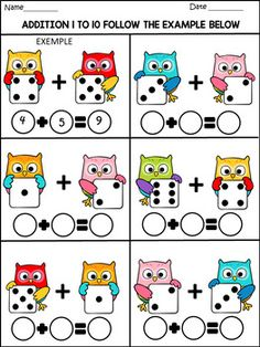 Back to school - math fun activities - 77 pages - color and b/w Math Addition Worksheets, Kindergarten Math Worksheets, In Kindergarten, Preschool Learning Activities, Preschool Activities, 3rd Grade Math, Math For Kids, Math Centers, Number Lines