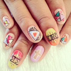 Go all chic with this triangle and crosses crazy nail art design Funky Nail Art, Crazy Nail Art, Funky Nails, New Nail Art Design, Crazy Nail Designs, Nail Art Designs, Design Art, Design Ideas, Spring Nail Art