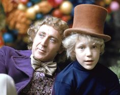 Gene Wilder as Willy Wonka and Peter Ostrum as Charlie Bucket on the set of the…