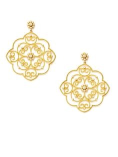 Leslie Greene  Gold & Diamond Floral Filigree Drop Earrings