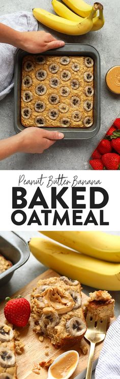 Baked oatmeal queens do we have a recipe for you! This Peanut Butter Banana Baked Oatmeal is perfectly sweetened with mashed banana and a little bit of maple syrup and gluten-free made with ground oat flour and rolled oats. Make this on the weekend for the family or during the week for a healthy breakfast meal prep recipe. Healthy Breakfast Meal Prep, Breakfast Bake, Breakfast Recipes, Dessert Recipes, Breakfast Club, Baked Oatmeal, Oatmeal Bars, Baked Banana, Oatmeal Recipes