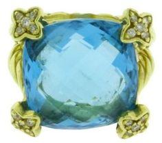 David Yurman 18K Yellow Gold Diamond & Blue Topaz Ring Sz 5