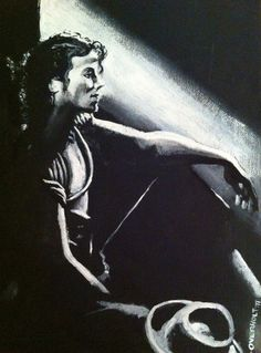 "Michael Jackson - ""Reflection"". Acrylic on canvas portrait by Kim Overholt."