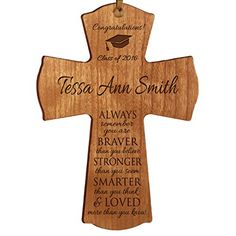 Personalized Graduation gifts for 2016 graduate ideas for men and women custom wall cross Always remember you are braver than you believe 45 x 6 Cherry ** More info could be found at the image url.