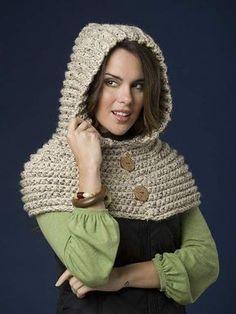 Ravelry: Riding Hood Capelet pattern by Jocelyn Sass Col Crochet, Poncho Au Crochet, Basic Crochet Stitches, Crochet Basics, Crochet For Beginners, Crochet Scarves, Crochet Clothes, Beginner Crochet, Crochet Cowls