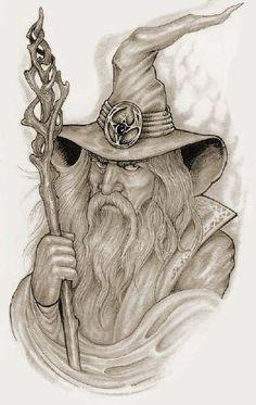 Wizard Drawings, Pencil Art Drawings, Art Drawings Sketches, Tattoo Drawings, Wizard Tattoo, Witch Tattoo, Fantasy Wizard, Fantasy Art, Skull Tattoos