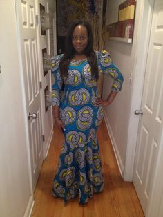 Long Puffy Shoulder Mermaid Ankara Dress