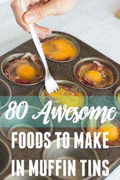 80 Awesome Foods You Can Make in a Muffin Tin Besides Muffins If you've been hanging out with me for a while now, you know that I am slightly obsessed with baking things in muffin tins. We're not talking muffins, just awesome foods that can be cooked Savory Muffins, Mini Muffins, Egg Muffins, Muffin Pan Recipes, Muffin Tin Meals, Breakfast In Muffin Tins, Cupcake Pan Recipes, Eggs In Muffin Tin, Tapas