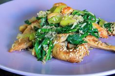 Terapia do Tacho: Frango com espinafres e gengibre... (Spinach and ginger chicken)