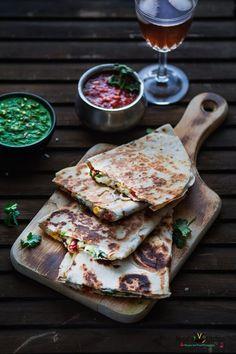 Veggie Cheesy Corn Quesadilla - Binjal's VEG Kitchen
