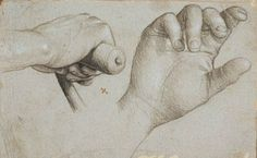 Holbein d.Æ., Hans : Studies of a crossbowman's hand and of St Sebastian's right hand. 1514-1515.