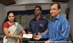 Congratulations to the Cop Swimmer!  Srinivas has been awarded a cheque of Rs 1.50 lakh as an encouragement to participate in International Masters Swimming Championship at Kazan.  #SwimIndia