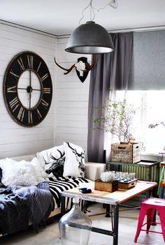 Industrial, vintage cottage styled livingroom