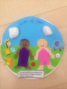 Sunday School craft idea for 6th day of creation made with paper plate, paper, animal & people stickers