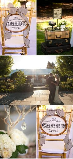 Sweet bride and groom chair markers -