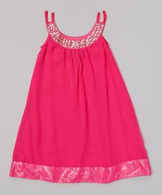 Look what I found on #zulily! Neon Pink Bling-A-Ling Yoke Dress - Toddler & Girls #zulilyfinds