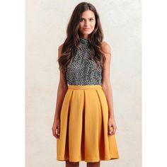 Ruche Te Amo Pleated Skirt In Yellow ($49) ❤ liked on Polyvore featuring skirts, yellow, knee length skirts, box pleat skirt, shirred skirt, knee high skirts y flare skirt